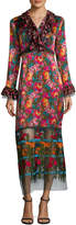 Anna Sui Women's Floral Embroidery Silk Long Dress