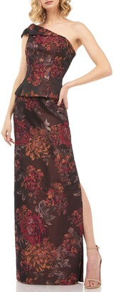 Kay Unger Asia Kensington Jacquard One-Shoulder Evening Gown