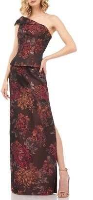 Kay Unger Asia Kensington Jacquard One-Shoulder Evening Gown