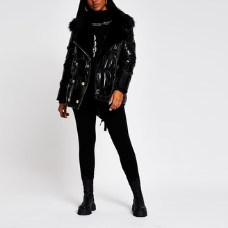River Island Womens Black patent aviator faux fur puffer jacket