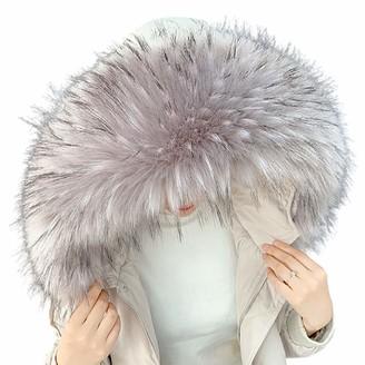 Queenbox Women's Detachable Faux Fur Scarf Scarves Collar Hood Trim Fluffy for Winter Coat Hat