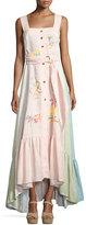 Peter Pilotto Sleeveless Embroidered Linen Button-Front Maxi Dress, Pink