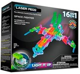 Laser Pegs Kid's 16-In-1 Space Fighter Lighted Model Kit