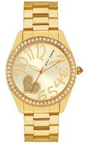Betsey Johnson Women's Gold Tone BJ00290-15 Crystals Accented Heart Gold Dial Watch