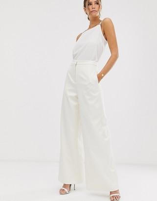 ASOS EDITION wide leg wedding pants in satin