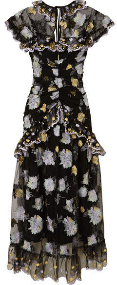 Alice McCall Ruffled Embroidered Tulle Midi Dress - Black