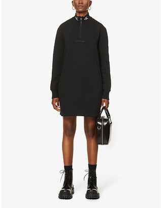 Calvin Klein Logo-print high-neck cotton-blend mini dress