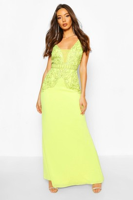 boohoo Occasion Hand Embellished Mesh Insert Maxi Dress