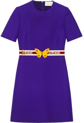 Gucci Wool silk pintuck dress with belt