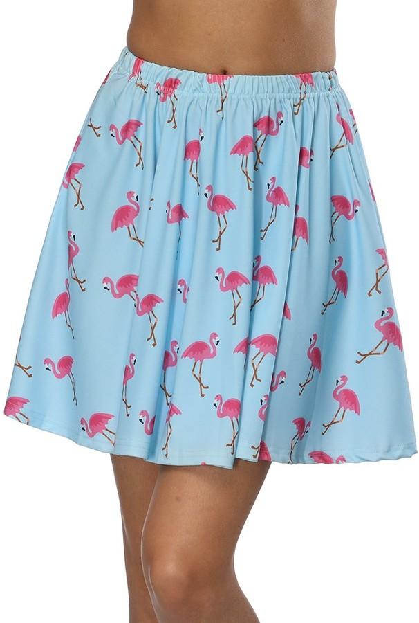Yeleo Trosetry Women's Printed Pleated Skater Skirt Lovely Cute Animal Pattern Mini Dress Blue Flamingo XL