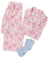 Karen Neuburger Women's Minky Fleece Long Sleeve Girlfriend PJ Set With Sock