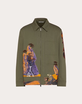 Valentino Yellow City Embroidery Safari Jacket Man Olive 100% Cotone 44