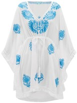 Melissa Odabash Irene Embroidered Fluid-poplin Kaftan - Womens - White Multi