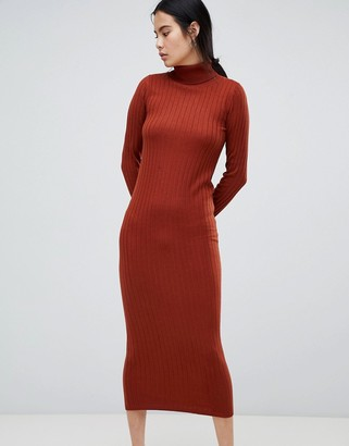 Asos Design DESIGN midi dress with high neck in rib-Red