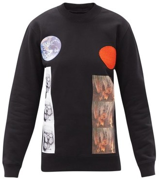 Raf Simons Aw14 Printed Cotton-jersey Long-sleeved T-shirt - Black