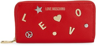 Love Moschino Logo Leather Zip-Around Wallet