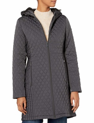 BCBGeneration Women's 3/4 Hooded Front Zip Quilted Coat