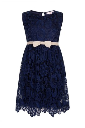 Little MisDress Navy Lace Bow Puffball Party Dress