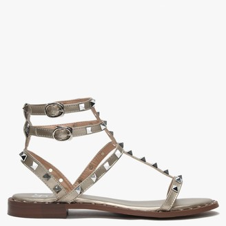 Df By Daniel Cuboid Gold Studded Gladiator Sandals
