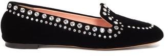 Rochas Crystal-embellished Velvet Loafers - Womens - Black