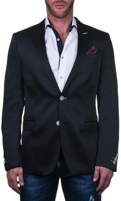 Maceoo Descartes Regular Fit Diamond Pattern Cotton & Linen Blend Sport Coat