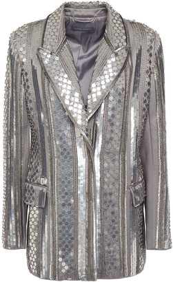 Alberta Ferretti Embellished Satin-crepe Blazer