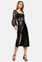 Topshop Black Croc PU Pencil Skirt