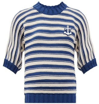 Gucci Anchor-applique Striped Cotton-blend Sweater - Blue White