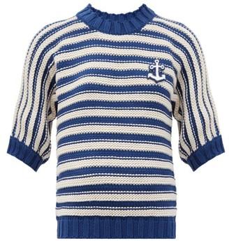Gucci Logo-applique Striped Cotton-blend Sweater - Blue White