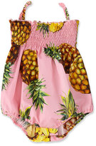 Dolce & Gabbana Shirred Poplin Pineapple Playsuit, Pink, Size 6-24 Months