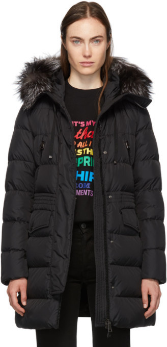 Moncler Black Down and Fur Aprhoti Coat