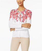 Karen Scott Floral-Print Cardigan, Only at Macy's