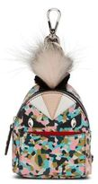 Fendi Mini Monster Leather & Fur Backpack Key Charm