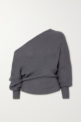 The Line By K Leon Off-the-shoulder Ribbed-knit Sweater - Gray