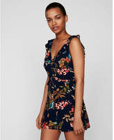 Express tropical floral ruffle waist romper