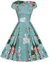 AKENA Womens 1950s Vintage Tea Square Neck Cap Sleeve Garden Floral Cocktail Party Dress