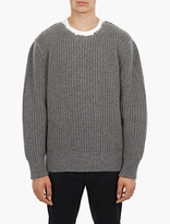 Lanvin Grey Raw-Hem Wool Sweater