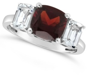 Macy's Garnet (2-3/4 ct. t.w.) and White Topaz (1-3/8 ct. t.w) Ring in Sterling Silver