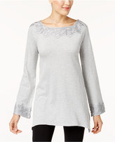 Style&Co. Style & Co Lace-Trim Tunic Sweater, Created for Macy's