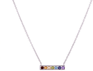 Forever Creations Usa Inc. Forever Creations 18K Over Silver & Silver Gemstone Rainbow Bar Necklace