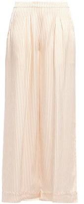 Eres Riga Amaretto Hammered Striped Silk-satin Pajama Pants