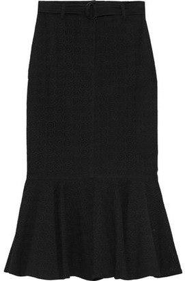 A.L.C. Hinton Fluted Broderie Anglaise Cotton Midi Skirt