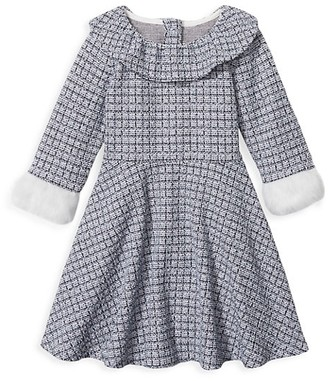 Janie and Jack Baby's, Little Girl's & Girl's Tweed Faux Fur-Trim A-Line Dress