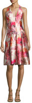 Carmen Marc Valvo Sleeveless Floral Satin Twill Cocktail Dress, Red/Multicolor