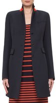 Akris Punto Fitted Three-Button Colorblock Wool Coat, Navy