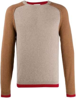 Ballantyne contrast sleeve jumper