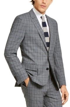 HUGO Men's Slim-Fit Stretch Charcoal Plaid Suit Jacket