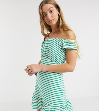 Asos DESIGN Tall Exclusive off shoulder mini sunsundress in green and white stripe
