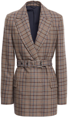 Brunello Cucinelli Belted Checked Wool And Cotton-blend Blazer