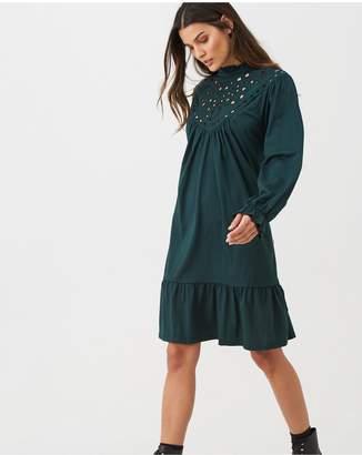 Warehouse Cutwork Tiered Dress - Green